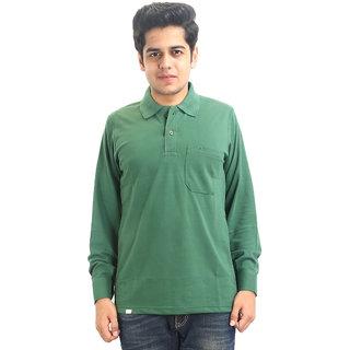 Go-On Green Polo Neck Long Sleeve T-Shirt For Men'S