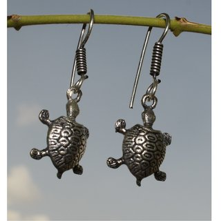 Black Metal Tortoise Earrings