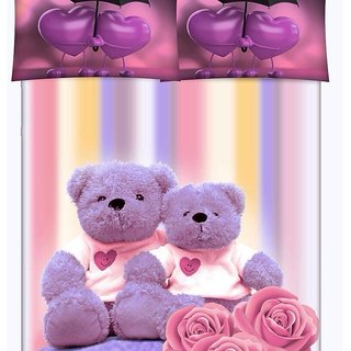 Print Queen Size BedSheet With 2 Pillow Covers (MulticolorQueen)