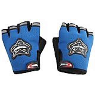 HALF KNIGHTHOOD FINGER RIDING GLOVES FOR ALL BIKES and SCOOTY GLOVES - BLUE