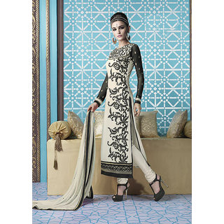 Ladyview Off White  Black Embroidered Georgette Straight Suit