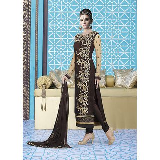 Ladyview Brown  Beige Embroidered Georgette Straight Suit