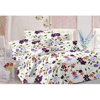 Valtellina Floral Design White Colour Cotton Double Bed Sheet with 2 Pillow Cover - TC-140