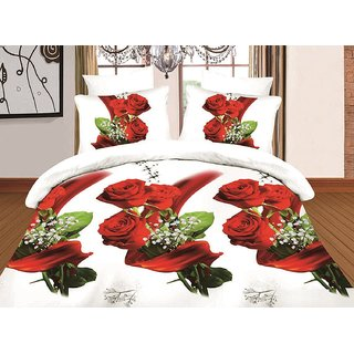 3D Print Double Polysatin Bed Sheet With Two Pillow Cover