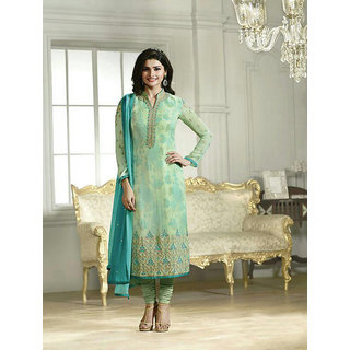 Ladyview Light Green  Aqua Embroidered Pure Chiffon Straight Suit