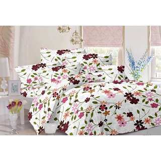 Valtellina Floral Design White Colour Cotton Double Bed Sheet with 2 Pillow Cover - TC-142
