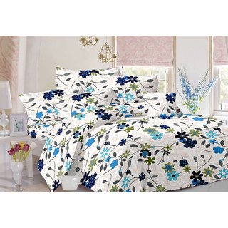 Valtellina Floral Design White Colour Cotton Double Bed Sheet with 2 Pillow Cover -TC-140