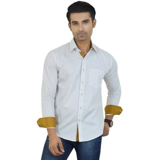 Big Brother White Button Down Full sleeves Casual Shirt For Men