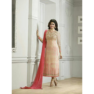 Ladyview Cream  Peach Embroidered Pure Chiffon Straight Suit