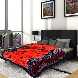 Titos Red Rose with Abstract Print Double Bed Quilt