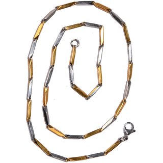 gold and silver plated two tone stainless steel chain for men