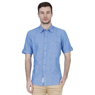 Lotus Blue Button Down Half Sleeve  Casual Shirts For Men