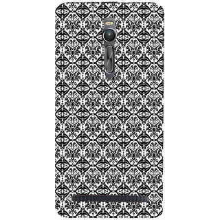 ifasho Animated Pattern design black and white flower in royal style Back Case Cover for Asus Zenfone2