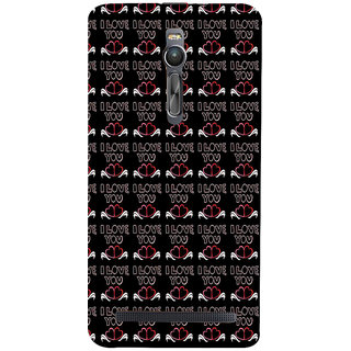 ifasho Animated Pattern With Love and heart and I love you Back Case Cover for Asus Zenfone2