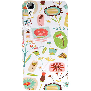ifasho Animated Pattern colrful flower with leaves Back Case Cover for HTC Desire 626
