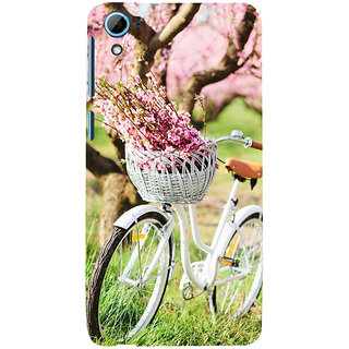 ifasho Cycle in a park with flowers and grass Back Case Cover for HTC Desire 826