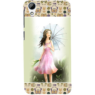 ifasho young Girl with umbrella Back Case Cover for HTC Desire 728
