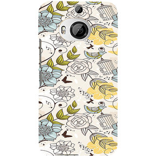 ifasho Animated Pattern colrful design flower and cage and birds Back Case Cover for HTC ONE M9 Plus