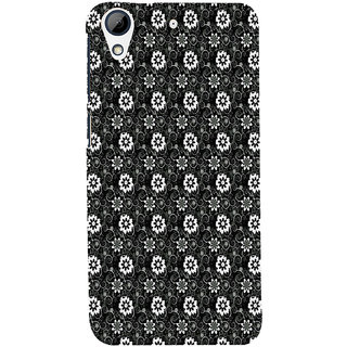 ifasho Animated Pattern design black and white flower in royal style Back Case Cover for HTC Desire 728