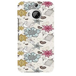 ifasho Animated Pattern colrful design flower and cage and hen Back Case Cover for HTC ONE M9 Plus