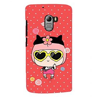 ifasho Cute Girl with Specs and Small Cat Back Case Cover for Lenovo K4 Note