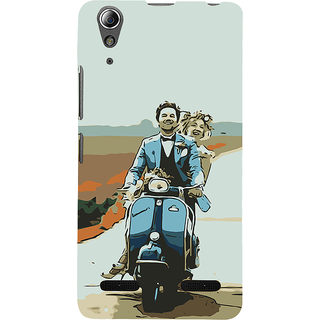 ifasho husband and wife happy drive in scooter Back Case Cover for Lenovo A6000