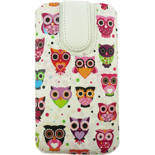 Emartbuy Multi Coloured Owls Print Premium PU Leather Slide in Pouch Case Cover Sleeve Holder ( Size 5XL ) With Pull Tab Mechanism Suitable For  SDQ 55004L