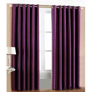 HDecore Purple Plain Window Curtain 2 pc 5ft