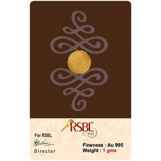 RSBL Ecoins 1 grams 24k (995) Yellow Gold Precious Coin