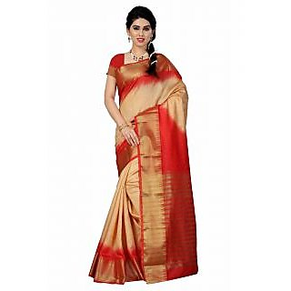 Inheart Multi Zari Tussar Silk Saree