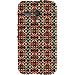 ifasho Animated Pattern design black and red flower in white background Back Case Cover for Moto G