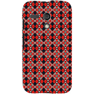 ifasho Animated Pattern small red rose flower with black and red rectangle Back Case Cover for Moto G