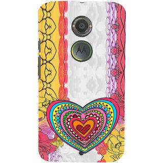 ifasho Modern Art Design Pattern with Heart and design colorful Back Case Cover for Moto E2