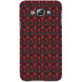 ifasho Animated Pattern small red rose flower with black background Back Case Cover for Samsung Galaxy E7