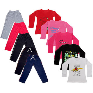 IndiWeaves Girls Combo Pack 10 (Pack of 5 Full Sleeves T-Shirts and 5 lowers )_Multicoloured_Size-6 - 8 Years