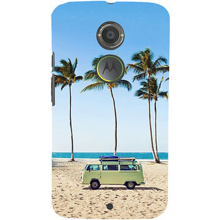 ifasho Bus on a beach Back Case Cover for Motorola MOTO X2