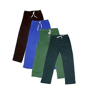 IndiWeaves Women's Stretchable  Premium Cotton Lower/Track Pant(Pack of 4)_Brown::Brown::Blue::Green::Gray_Free Size