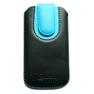 Emartbuy Black / Blue Plain Premium PU Leather Slide in Pouch Case Cover Sleeve Holder ( Size 4XL ) With Pull Tab Mechanism Suitable For Mediacom PhonePad Duo X555U