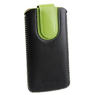 Emartbuy Black / Green Plain Premium PU Leather Slide in Pouch Case Cover Sleeve Holder ( Size 4XL ) With Pull Tab Mechanism Suitable For ZTE Blade D2