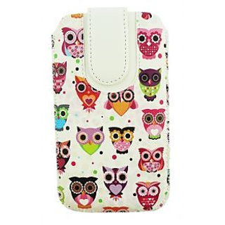 Emartbuy Multi Coloured Owls Print Premium PU Leather Slide in Pouch Case Cover Sleeve Holder ( Size 4XL ) With Pull Tab Mechanism Suitable For LG K5 4G