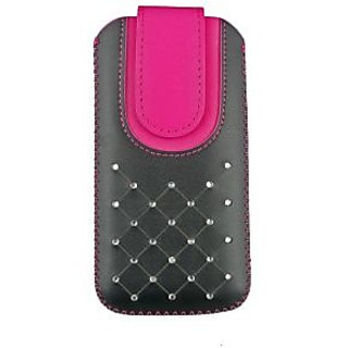 Emartbuy Black / Hot Pink Gem Studded Premium PU Leather Slide in Pouch Case Cover Sleeve Holder ( Size 4XL ) With Pull Tab Mechanism Suitable For LG K5 4G