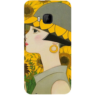 ifasho Painted Girl and flower Back Case Cover for HTC One M9