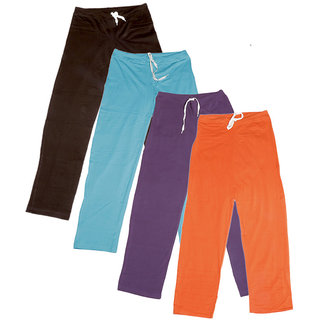 IndiWeaves Women's Stretchable  Premium Cotton Lower/Track Pant(Pack of 4)_Brown::Blue::Purple::Orange_Free Size