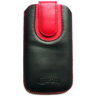 Emartbuy Black / Red Plain Premium PU Leather Slide in Pouch Case Cover Sleeve Holder ( Size 4XL ) With Pull Tab Mechanism Suitable For Mediacom PhonePad Duo X555U