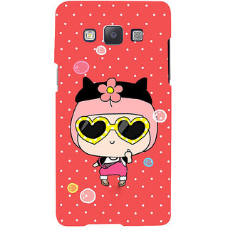 ifasho Cute Girl with Specs and Small Cat Back Case Cover for Samsung Galaxy A7