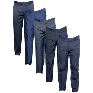 IndiWeaves Men's Rayon Formal Trousers (Pack of 5)_Gray::Blue::Gray::Gray::Gray_Size: 30