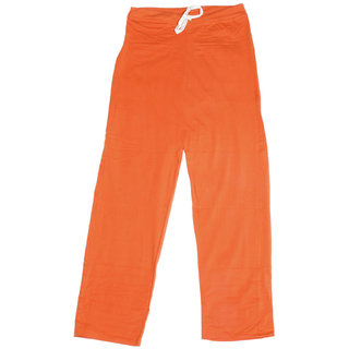 IndiWeaves Women's Stretchable Premium Cotton Lower/Track Pant_Orange_Free Size