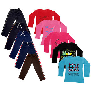 Indistar Girls Combo Pack 10 (Pack of 5 Full Sleeves T-Shirts and 5 lowers )_Multicoloured_Size-6 - 8 Years