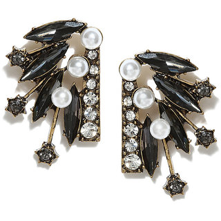 OOMPH's Gold, Black & White Crystal & Pearl Fashion Jewellery Ear Stud Earrings for Women, Girls & Ladies