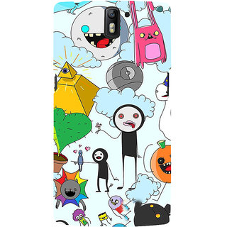 ifasho Cartoon Soft face many cartoons characters Back Case Cover for One Plus One